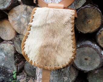 Medieval belt pouch with deer hide