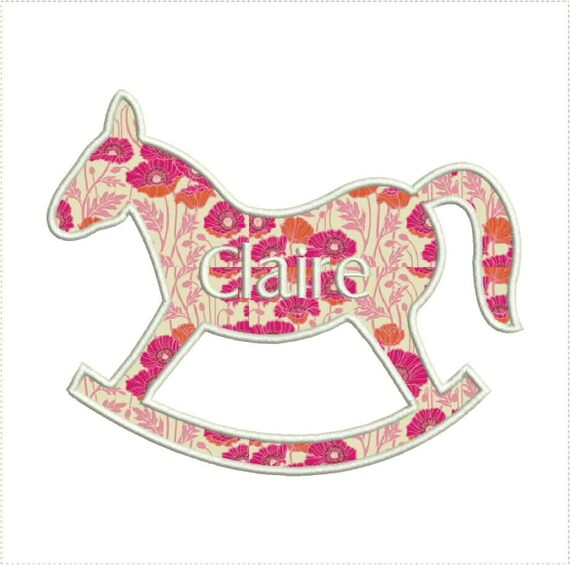 Toy rocking horse applique machine embroidery design and