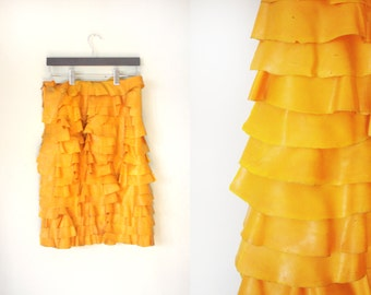 Latex Pencil Skirt / Latex Skirt Plastic Skirt PU Skirt PVC Skirt Latex Clothing Rubber Skirt Ruffled Skirt Yellow Pencil Skirt Yellow Skirt