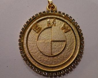 Deadstock BMW Medallion 80's GOLD Necklace Pendant Sports Car Hip Hop Chain Bboy Breaker Rap 1980's bmw necklace German auto Plumb Gold