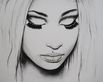 Original Charcoal Pencil Drawing of Nicki Minaj Celebrity Fashion Illustration