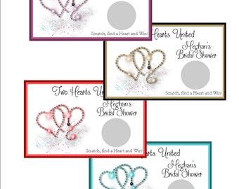 Bridal Scratch off game - crystal shimmering hearts - set of 6
