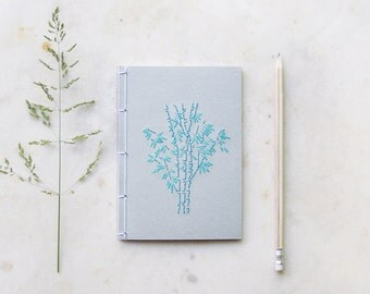 Bamboo Trees. Embroidered A6 Notebook. Mint A6 Notebook. Nature Notebook. Mini Journal. Pocket Notebook. Gardener Gift. Japanese Stab Bound