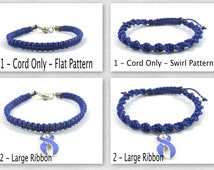 Periwinkle Awareness Bracelet, Macrame, Acid Reflux, Anorexia Nerovsa, Stomach Cancer, Esophageal Cancer, Gastric Cancer, Eating Disorders