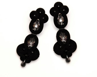 Crystal earrings black. Statement crystals earrings. Big black earrings. Dangle drop black earrings soutache embroidered.