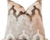 Taupe Grey Brown Geometric Ogee Pillow Cover - Neutral Velvet Pillow - Ombre Geometric Pillow - Beige and Gray Decor