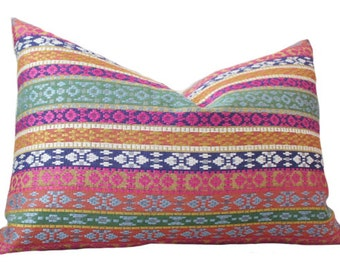 Moroccan Pillow Cover - Pink Blue Green Orange Yellow Pillow Cover-  Multi Colored Pillow - Designer Throw Pillow Cover - Pink Blue Pillow