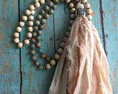 Long Hand Knotted Tassel Necklace - Long beaded necklace with sari silk tassel - Yoga/ Mala style Necklace