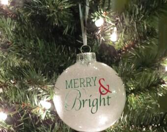 Merry & Bright Glass Christmas ornament