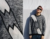 BROKEN Black Gray Knit Long Sleeve Funky Mens Abstract Sweater