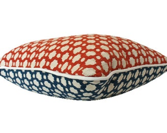 Schumacher Betwixt - Reversible Red White and Blue Pillow Cover with Ivory Piping