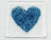 Blue Heart Fused Glass Coaster