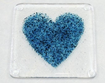Blue Heart Fused Glass Coaster