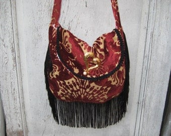 Dark Red slouchy chenille fabric bags and purses, red black purse, bohemian gypsy bag, fringe bag, crossbody purse, carpetbag