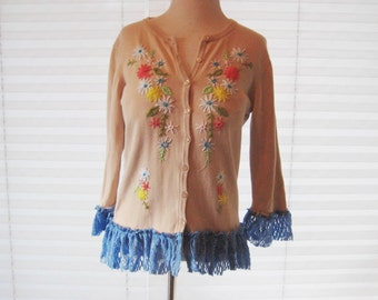 Beige embroidered cardigan, shabby lace cardigan, upcycled sweater, refashioned clothing, floral cardigan, romantic boho chic, size medium