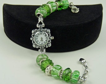 SEAGRASS GREEN WATCH:  European Style Large Hole Beaded Watch Bracelet