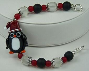 SANTA PENGUIN: Christmas Artist Lampwork Glass Bracelet Red Black