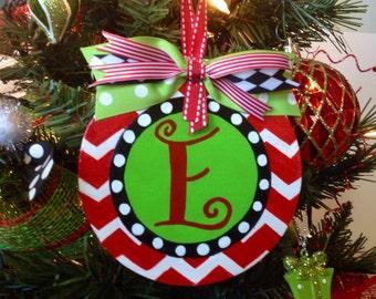 Christmas Ornament Personalized Wooden Ornament Chevron Ornament