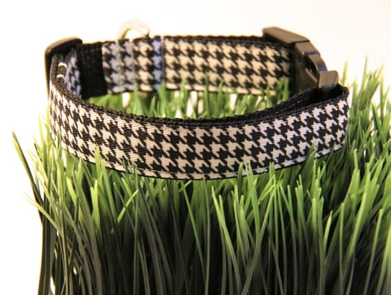 Houndstooth Dog Collar FREE SHIPPING, black, white, houndstooth, dog collar, adjustable dog collar