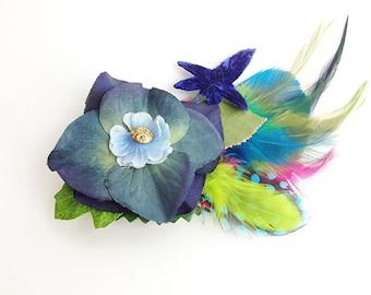 Sweet Blue flower feather fascinator graduation prom bridal wedding antique button alligator clip