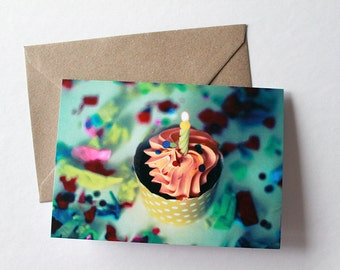 Happy Birthday Card - Cupcake & Confetti - Blank Inside - Greeting Card