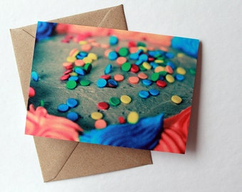 Happy Birthday Cake Card - Blank Inside - Greeting Card