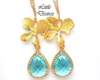 Blue Earrings Bridal Earrings Wedding Earrings Bridesmaid Gift Aquamarine Earrings Teal Blue Earrings Orchid Flower Gold Earrings TQ38H