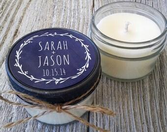 Set of 12 - 4 oz Soy Candle Wedding Favors - Wedding Favor Candles Chalkboard Laurel - Personalized Wedding Favors//Chalkboard Wedding Favor