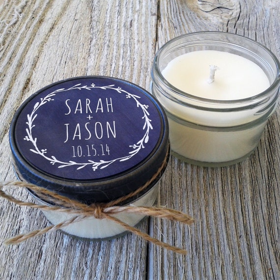 Set of 12 - 4 oz Soy Candle Wedding Favors - Wedding Favor Candles Chalkboard Laurel - Personalized Wedding Favors//Chalkboard Wedding Favor