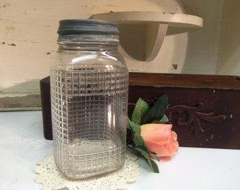Vintage Clear Square Shaped Product or Coffee Jar with Rustic Rough Zinc Lid  B637