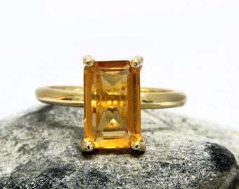 SUMMER SALE - November birthstone ring,Citrine ring,gold ring,gold filled ring,solid gold ring,customize rings,rectangle ring