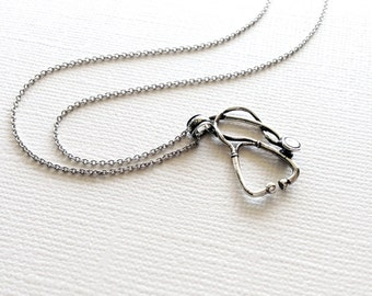 Stethoscope Necklace in Sterling Silver, Graduation Gift