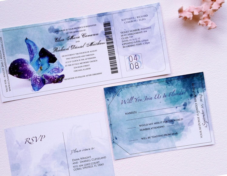 Blue Orchid Wedding Invitations: Boarding Pass Destination Wedding Invitation Set