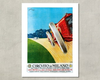 Circuito Di Milano Racing Poster Print, 1922 - 8.5x11 Poster Print - also available in 11x14 and 13x19 - see listing details