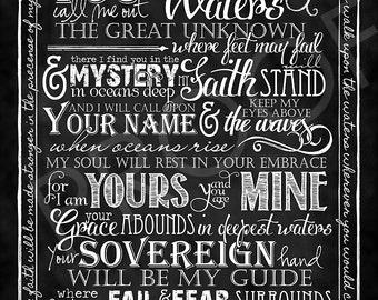 "Scripture Art  - Song by Hillsong United ""Oceans"" Chalkboard Style"