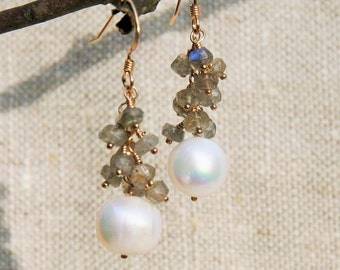 Freshwater pearl and labradorite earrings on 14kt gold fill