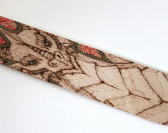 Dragon gold glitter red bookmark - Pyrography with glitter finish