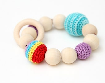 Colorful Rainbow teething ring - baby teething toy with crochet wooden beads and ring - wooden rattle toy