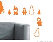 Wall Decals for Baby Nursery & Kids Decor - Happy Monsters Collection - Orange - Great Newborn Gift