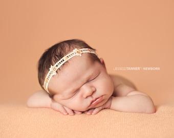 Newborn Lace Headband, Satin Baby Halo, Newborn Photo Prop, Ivory and Peach Headband, Peach Flower Newborn Headband, RTS