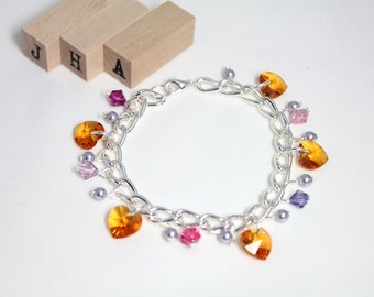Formal/Wedding/Bridesmaid/Everyday Swarovski crystal chain bracelet - Topaz Love
