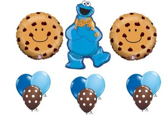 Sesame Street Cookie Monster birthday party supplies balloons one 1st