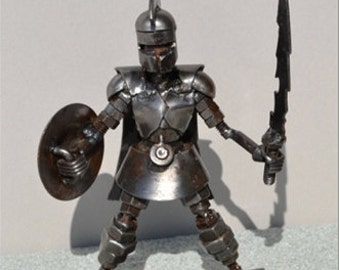 "Hand Made SPARTAN WARRIOR 6"" Inches Recycled Scrap Metal Sculpture"