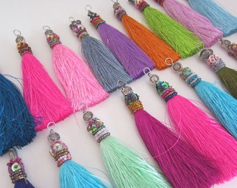 "Silk Beaded Tassels HANDMADE Decorative Tassels for Jewelry, Luxury Handcrafted Beaded Decorative Jewelry Tassels, Assorted Colors 4"" Tassel"