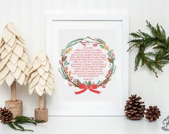 INSTANT DOWNLOAD, For Unto Us a Child is Born, Christmas Scripture Printable, Wreath, No. 226