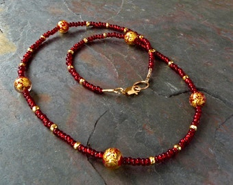 Garnet Red Czech Bead Necklace wth Gold Foil Venetian Glass Beads and Pyrite, Handmade, 18 Inch