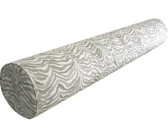 Custom Bolster Cover - Neck Roll Cover - Custom Fabrics - Lacefield Designs Serengeti in Bisque - Animal Print - Gray Grey - Made to Order