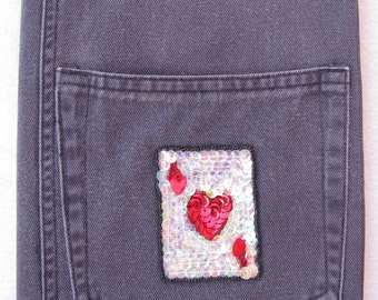 Recycled Denim, Composition Notebook Cover, Ace Of Hearts, Black Denim, Artist Journal, Diary, Upcycled Denim, Heart Applique