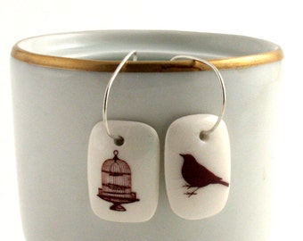 Cage Free Bird Earrings Porcelain Funny Handmade White Brown on 925 Sterling Silver Hoops