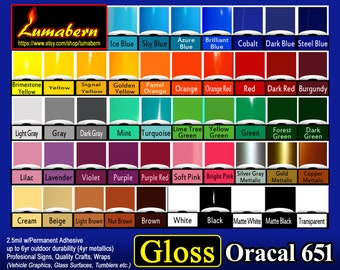 """40 sheets 6""""x12""""  GLOSS Oracal 651 adhesive backed vinyl Sign/Craft Oudoor Professional Quality  - Punch/Die Cut, Cutters"""